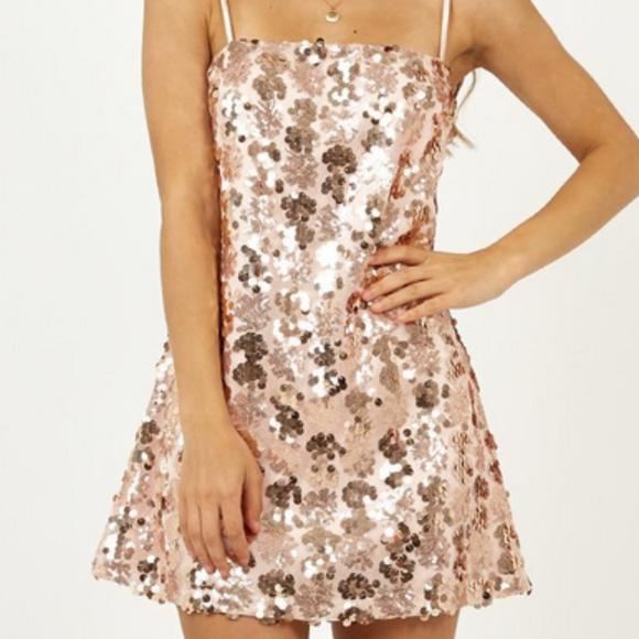 c9576acaf09 Showpo Dresses   Virgo Rising Dress In Rose Gold Scatter Sequin ...